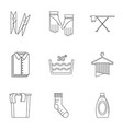 laundromat icons set outline style vector image