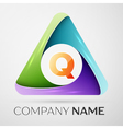 Letter Q logo symbol in the colorful triangle vector image