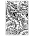 leviathan engraved fantasy vector image vector image