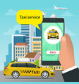 online taxi-service concept man orders a taxi vector image vector image