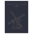 poster holland windmill dark vector image vector image