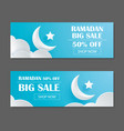 ramadan kareem sale banner design with crescent vector image vector image
