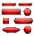 red glass 3d buttons with chrome frame set of vector image vector image