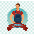 round icon on white background with car mechanic vector image vector image