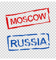 russia and moscow stamps vector image vector image
