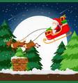 santa flying in a sleigh vector image vector image