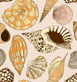 Seamless pattern of seashells vector image vector image