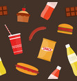 seamless pattern with fast food meals snacks and vector image