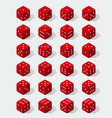 set isometric red dice vector image