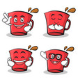 set of red glass character cartoon vector image vector image