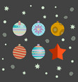 set of retro decorative christmas balls vector image vector image