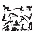 silhouette yoga poses vector image vector image