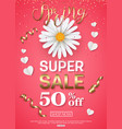 spring sale banner with chamomile gold ribbon vector image vector image