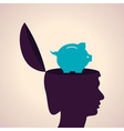 Thinking concept-Human head with piggy bank vector image vector image