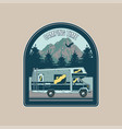 vintage badge with old family camper vector image vector image