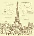 vintage eifel tower vector image vector image