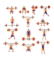Weightlifting and workout exercise in gym vector image vector image