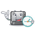 with clock button r isolated cartoon vector image vector image