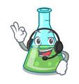 with headphone science beaker mascot cartoon vector image vector image