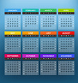 2016 year color calendar template Flat design vector image