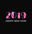2019 happy new year greeting card pink numbers vector image vector image