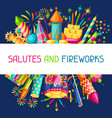 background with colorful fireworks different vector image vector image