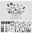 bag full cosmetics line monochrome vector image vector image