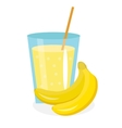 Banana juice in a glass Fresh isolated on white vector image vector image