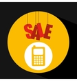 basket shopping sale mobile phone graphic vector image