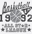 Basketball all star league artwork typography vector image vector image