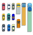 cars and trucks top view flat icons vector image vector image