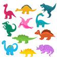cartoon color cute dinosaurs icon set vector image