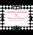 chess certificate diploma frame championship vector image vector image