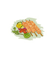 Chicken Kebabs Vegetables Drawing vector image