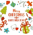 Christmas doodle card vector image vector image