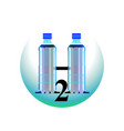 clean water two bottles h2o logo vector image vector image
