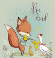 cute fox with ducks vector image vector image