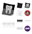 dental care cartoonblackflatmonochromeoutline vector image