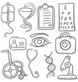 doodle of various medical object vector image