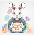 easter rabbit egg vector image