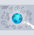 ecommerce globe and shopping icons collection vector image vector image