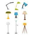 flat set of different floor and desk lamps vector image