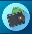 flat wallet with money icon and cash vector image vector image