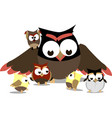 funny owls mom and little chicks around her vector image