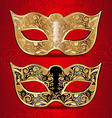 gold and black masks for masquerade vector image vector image