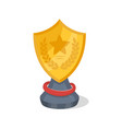 golden trophy cup of shield shape vector image vector image