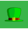 green hat of a leprechaun on a green background vector image vector image