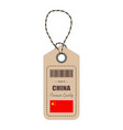 hang tag made in china with flag icon isolated on vector image vector image