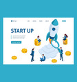 isometric concept investing in startups rocket vector image vector image