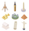 isometric landmark famous building travel vector image